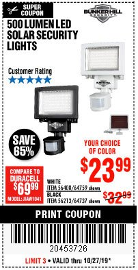 Harbor Freight Coupon 500 LUMENS LED SOLAR SECURITY LIGHT Lot No. 56408/64759/56213/64737 Expired: 10/27/19 - $23.99