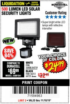 Harbor Freight Coupon 500 LUMENS LED SOLAR SECURITY LIGHT Lot No. 56408/64759/56213/64737 Expired: 11/10/19 - $24.99