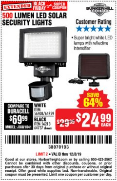 Harbor Freight Coupon 500 LUMENS LED SOLAR SECURITY LIGHT Lot No. 56408/64759/56213/64737 Expired: 12/8/19 - $24.99