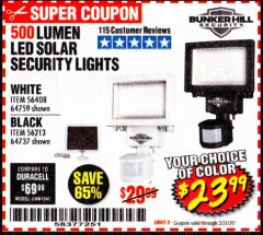 Harbor Freight Coupon 500 LUMENS LED SOLAR SECURITY LIGHT Lot No. 56408/64759/56213/64737 Expired: 3/31/20 - $23.99