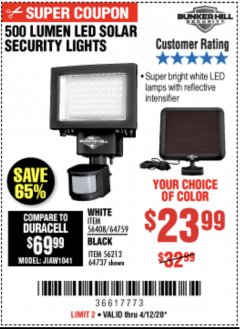 Harbor Freight Coupon 500 LUMENS LED SOLAR SECURITY LIGHT Lot No. 56408/64759/56213/64737 Expired: 6/30/20 - $23.99