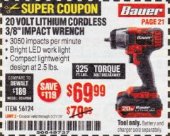 "Harbor Freight Coupon BAUER 20 VOLT LITHIUM CORDLESS, 3/8"" IMPACT WRENCH Lot No. 56124 Expired: 5/31/19 - $69.99"