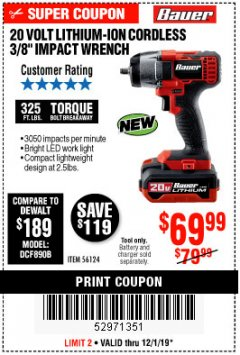 "Harbor Freight Coupon BAUER 20 VOLT LITHIUM CORDLESS, 3/8"" IMPACT WRENCH Lot No. 56124 Expired: 12/1/19 - $69.99"