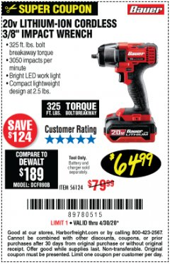"Harbor Freight Coupon BAUER 20 VOLT LITHIUM CORDLESS, 3/8"" IMPACT WRENCH Lot No. 56124 Valid Thru: 4/30/20 - $64.99"