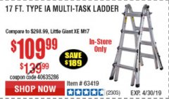 Harbor Freight Coupon 17 FOOT TYPE IA MUTI TASK LADDER Lot No. 67646/63418/63419/63417 Expired: 4/30/19 - $109.99