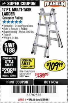 Harbor Freight Coupon 17 FOOT TYPE IA MUTI TASK LADDER Lot No. 67646/63418/63419/63417 Expired: 5/31/19 - $109.99