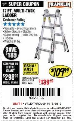 Harbor Freight Coupon 17 FOOT TYPE IA MUTI TASK LADDER Lot No. 67646/63418/63419/63417 Expired: 9/15/19 - $109.99