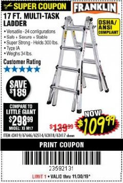 Harbor Freight Coupon 17 FOOT TYPE IA MUTI TASK LADDER Lot No. 67646/63418/63419/63417 Expired: 11/30/19 - $109.99