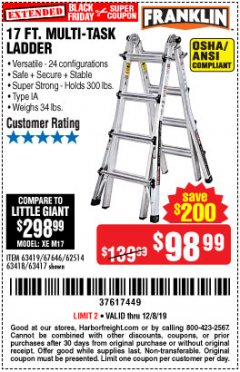 Harbor Freight Coupon 17 FOOT TYPE IA MUTI TASK LADDER Lot No. 67646/63418/63419/63417 Expired: 12/8/19 - $98.99