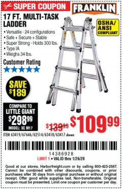 Harbor Freight Coupon 17 FOOT TYPE IA MUTI TASK LADDER Lot No. 67646/63418/63419/63417 Expired: 1/26/20 - $109.99