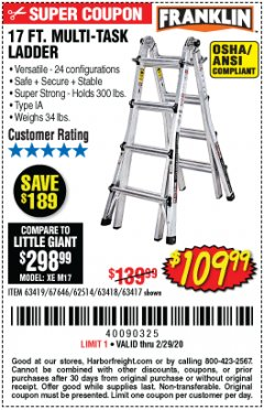 Harbor Freight Coupon 17 FOOT TYPE IA MUTI TASK LADDER Lot No. 67646/63418/63419/63417 Expired: 2/29/20 - $109.99