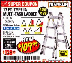 Harbor Freight Coupon 17 FOOT TYPE IA MUTI TASK LADDER Lot No. 67646/63418/63419/63417 Expired: 3/31/20 - $109.99