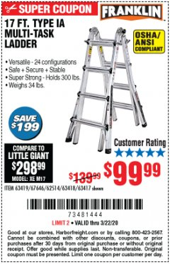 Harbor Freight Coupon 17 FOOT TYPE IA MUTI TASK LADDER Lot No. 67646/63418/63419/63417 Expired: 3/22/20 - $99.99