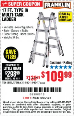 Harbor Freight Coupon 17 FOOT TYPE IA MUTI TASK LADDER Lot No. 67646/63418/63419/63417 Expired: 6/30/20 - $109.99