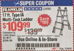 Harbor Freight Coupon 17 FOOT TYPE IA MUTI TASK LADDER Lot No. 67646/63418/63419/63417 Valid Thru: 7/18/20 - $109