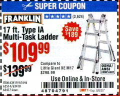 Harbor Freight Coupon 17 FOOT TYPE IA MUTI TASK LADDER Lot No. 67646/63418/63419/63417 Valid: 6/23/20 - 8/8/20 - $109