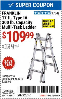 Harbor Freight Coupon 17 FOOT TYPE IA MUTI TASK LADDER Lot No. 67646/63418/63419/63417 Valid Thru: 7/31/20 - $109.99