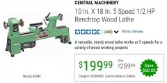 Harbor Freight Coupon 5 SPEED BENCH TOP WOOD LATHE Lot No. 65345 Expired: 6/30/20 - $199.99