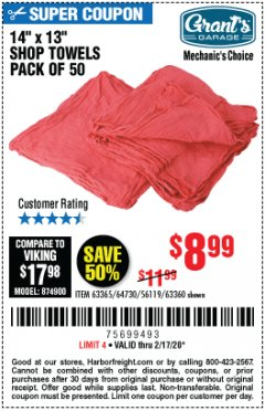 Harbor Freight Coupon MECHANICS SHOP TOWELS Lot No. 56119/64730/63365/63360 Valid Thru: 2/17/20 - $8.99