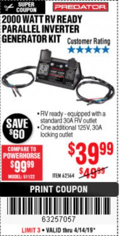 Harbor Freight Coupon 2000 WATT RV READY PARALLEL INVERTER GENERATOR KIT Lot No. 62564 Expired: 4/14/19 - $39.99