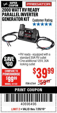 Harbor Freight Coupon 2000 WATT RV READY PARALLEL INVERTER GENERATOR KIT Lot No. 62564 Expired: 7/28/19 - $39.99