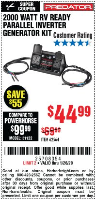 Harbor Freight Coupon 2000 WATT RV READY PARALLEL INVERTER GENERATOR KIT Lot No. 62564 Expired: 1/26/20 - $44.99
