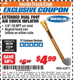 Harbor Freight ITC Coupon EXTENDED DUAL FOOT AIR CHUCK INFLATOR Lot No. 63571 Expired: 8/31/19 - $4.99