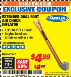 Harbor Freight ITC Coupon EXTENDED DUAL FOOT AIR CHUCK INFLATOR Lot No. 63571 Expired: 4/30/20 - $4.99