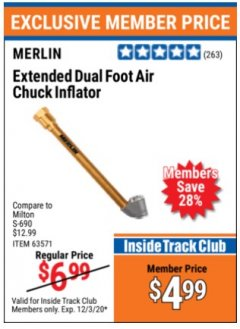 Harbor Freight ITC Coupon EXTENDED DUAL FOOT AIR CHUCK INFLATOR Lot No. 63571 Expired: 12/3/20 - $4.99