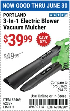 Harbor Freight Coupon 3-IN-1 ELECTRIC BLOWER VACUUM MULCHER Lot No. 62469 EXPIRES: 6/30/20 - $39.99