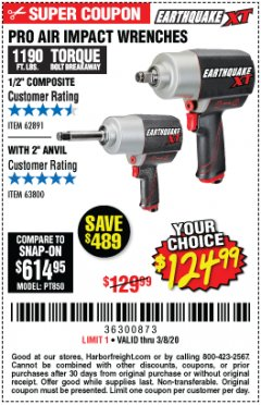 "Harbor Freight Coupon PRO AIR IMPACT WRENCHES A 1/2"" COMPOSITE PRO B 1/2"" WITH 2"" ANVIL Lot No. 62835/63385 Valid Thru: 3/8/20 - $124.99"