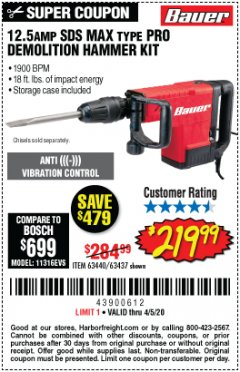 Harbor Freight Coupon 12.5 AMP SDS MAX. TYPE PRO DEMOLITION HAMMER KIT Lot No. 63437 EXPIRES: 6/30/20 - $219.99