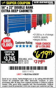 Harbor Freight Coupon DOUBLE BANK ROLLER CABINETS 56 IN. X 22 IN. Lot No. 64165/64458/64864 EXPIRES: 6/30/20 - $679.99
