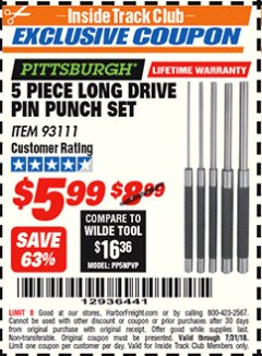 Harbor Freight ITC Coupon 5 PIECE LONG DRIVE PIN PUNCH SET Lot No. 93111 Expired: 7/31/18 - $5.99
