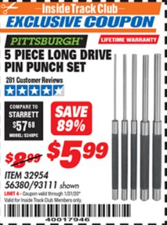 Harbor Freight ITC Coupon 5 PIECE LONG DRIVE PIN PUNCH SET Lot No. 93111 Expired: 1/31/20 - $5.99