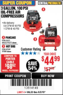 Harbor Freight Coupon 3 GAL. 1/3 HP 100 PSI OIL-FREE HOTDOG AIR COMPRESSOR Lot No. 69269 Expired: 6/30/19 - $44.99