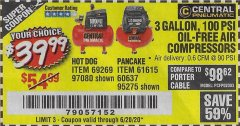 Harbor Freight Coupon 3 GAL. 1/3 HP 100 PSI OIL-FREE HOTDOG AIR COMPRESSOR Lot No. 69269 EXPIRES: 6/20/20 - $39.99
