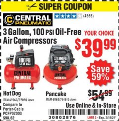 Harbor Freight Coupon 3 GAL. 1/3 HP 100 PSI OIL-FREE HOTDOG AIR COMPRESSOR Lot No. 69269 Valid Thru: 3/18/21 - $39.99