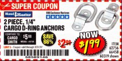 "Harbor Freight Coupon 2 PIECE, 1/4"" CARGO D-RING ANCHORS Lot No. 62756/66458/60319 Expired: 3/31/20 - $1.99"