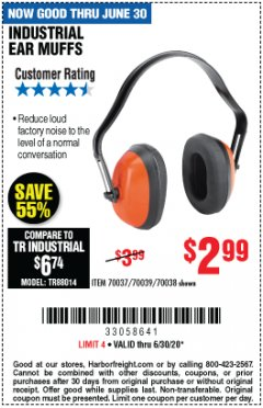 Harbor Freight Coupon INDUSTRIAL EAR MUFFS Lot No. 70037/70039/70038 EXPIRES: 6/30/20 - $2.99