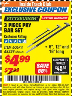 Harbor Freight ITC Coupon 3 PIECE PRY BAR SET Lot No. 60674/68339 Expired: 10/31/18 - $4.99