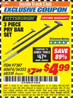 Harbor Freight ITC Coupon 3 PIECE PRY BAR SET Lot No. 60674/68339 Expired: 5/31/19 - $4.99