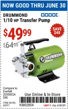 Harbor Freight Coupon 1/10 HP TRANSFER PUMP Lot No. 56149/63317 EXPIRES: 6/30/20 - $49.99