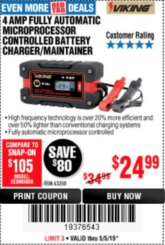 Harbor Freight Coupon 4 AMP FULLY AUTOMATIC MICROPROCESSOR CONTROLLED BATTERY CHARGER/MAINTAINER Lot No. 63350 Expired: 5/5/19 - $24.99