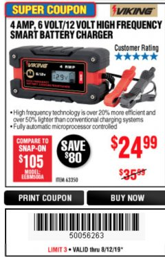 Harbor Freight Coupon 4 AMP FULLY AUTOMATIC MICROPROCESSOR CONTROLLED BATTERY CHARGER/MAINTAINER Lot No. 63350 Expired: 8/12/19 - $24.99