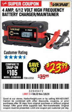 Harbor Freight Coupon 4 AMP FULLY AUTOMATIC MICROPROCESSOR CONTROLLED BATTERY CHARGER/MAINTAINER Lot No. 63350 Expired: 2/8/20 - $23.99