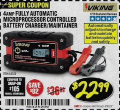 Harbor Freight Coupon 4 AMP FULLY AUTOMATIC MICROPROCESSOR CONTROLLED BATTERY CHARGER/MAINTAINER Lot No. 63350 Expired: 6/30/20 - $22.99