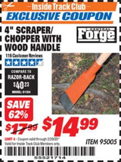"Harbor Freight ITC Coupon 4"" SCRAPER/CHOPPER WITH WOOD HANDLE Lot No. 95005 Expired: 2/29/20 - $14.99"