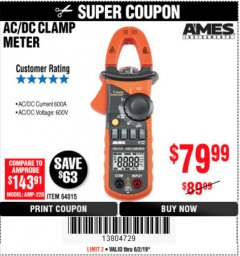 Harbor Freight Coupon 600A T-RMS AC/DC CLAMP METER Lot No. 64015 Expired: 6/2/19 - $79.99
