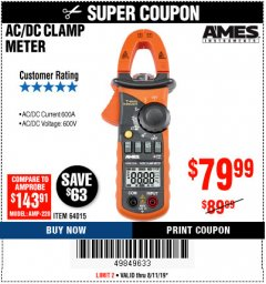Harbor Freight Coupon 600A T-RMS AC/DC CLAMP METER Lot No. 64015 Expired: 8/11/19 - $79.99